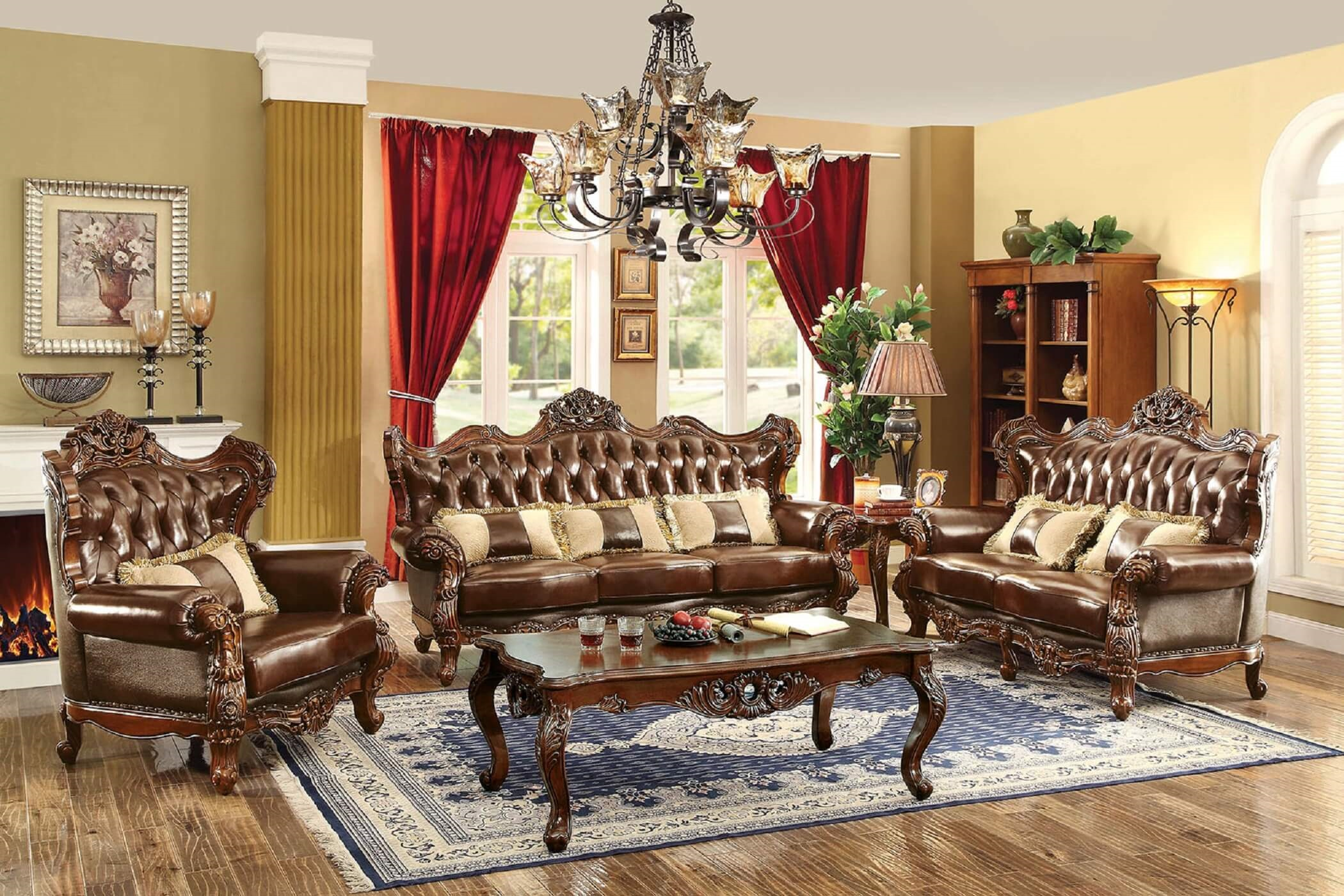 Jericho Wood Trim Leather Sofa Set CM6786