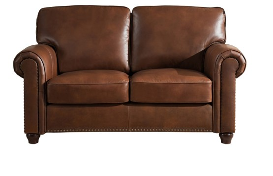 Jane Furniture Barbara Brown Leather Loveseat