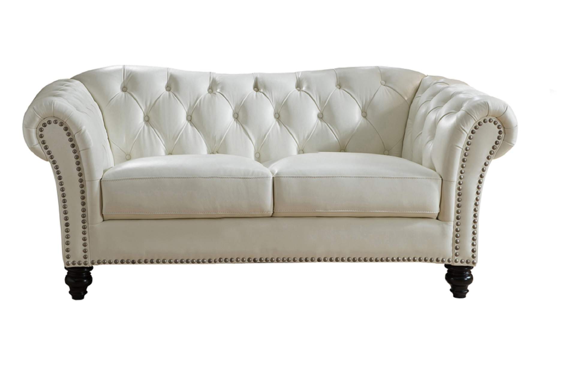 Jane Furniture Mona Top Grain Ivory White Leather Loveseat