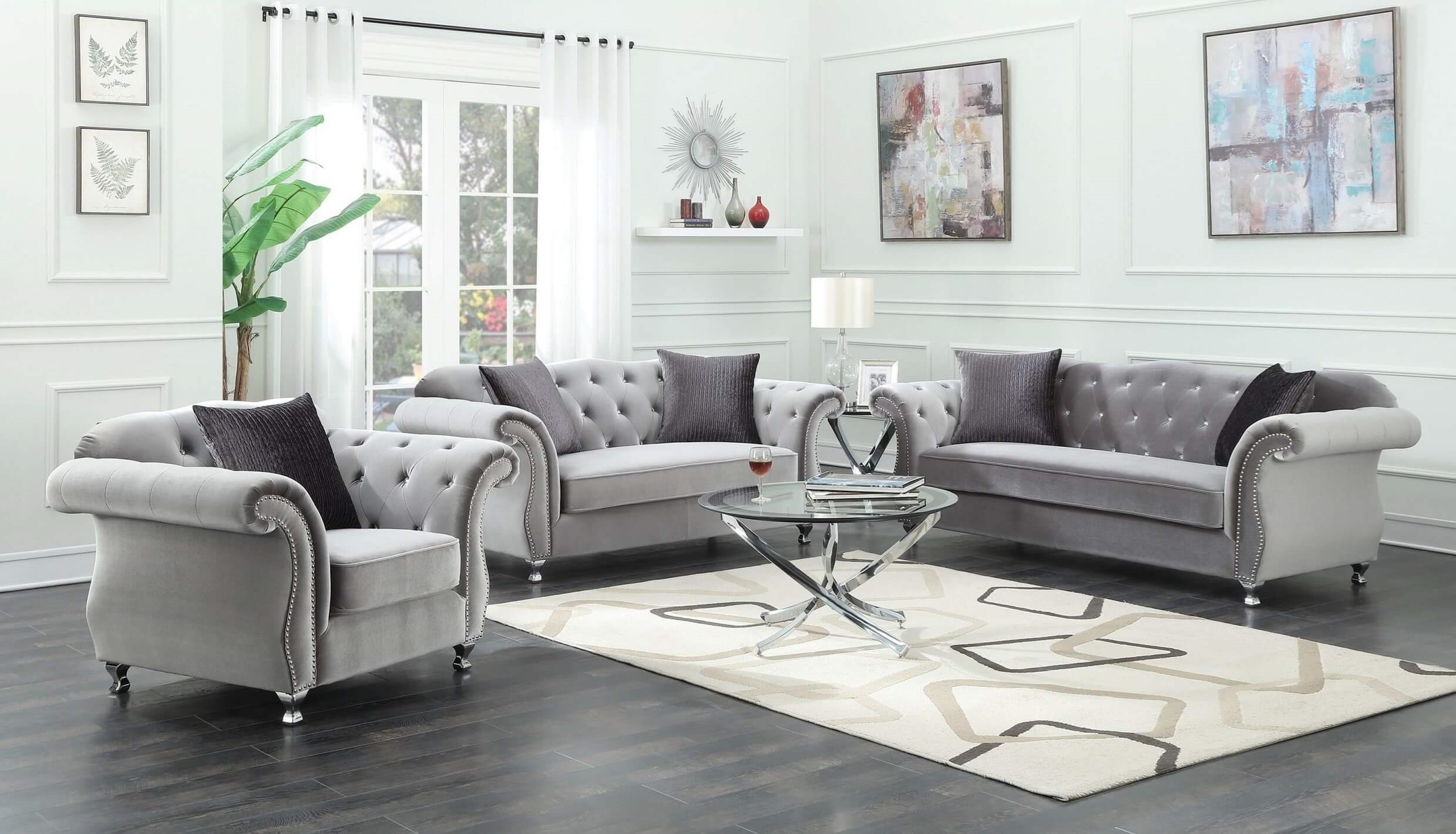 Incroyable Coaster Frostine Glamorous Sofa Set