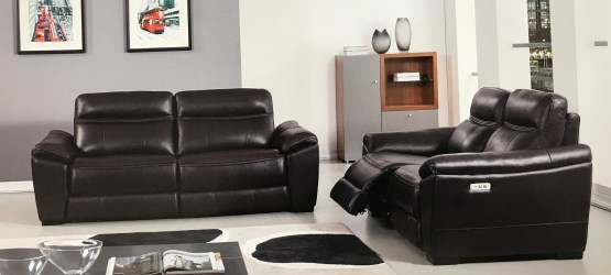 Forma Dark Brown Full Italian Leather Power Recliner Set