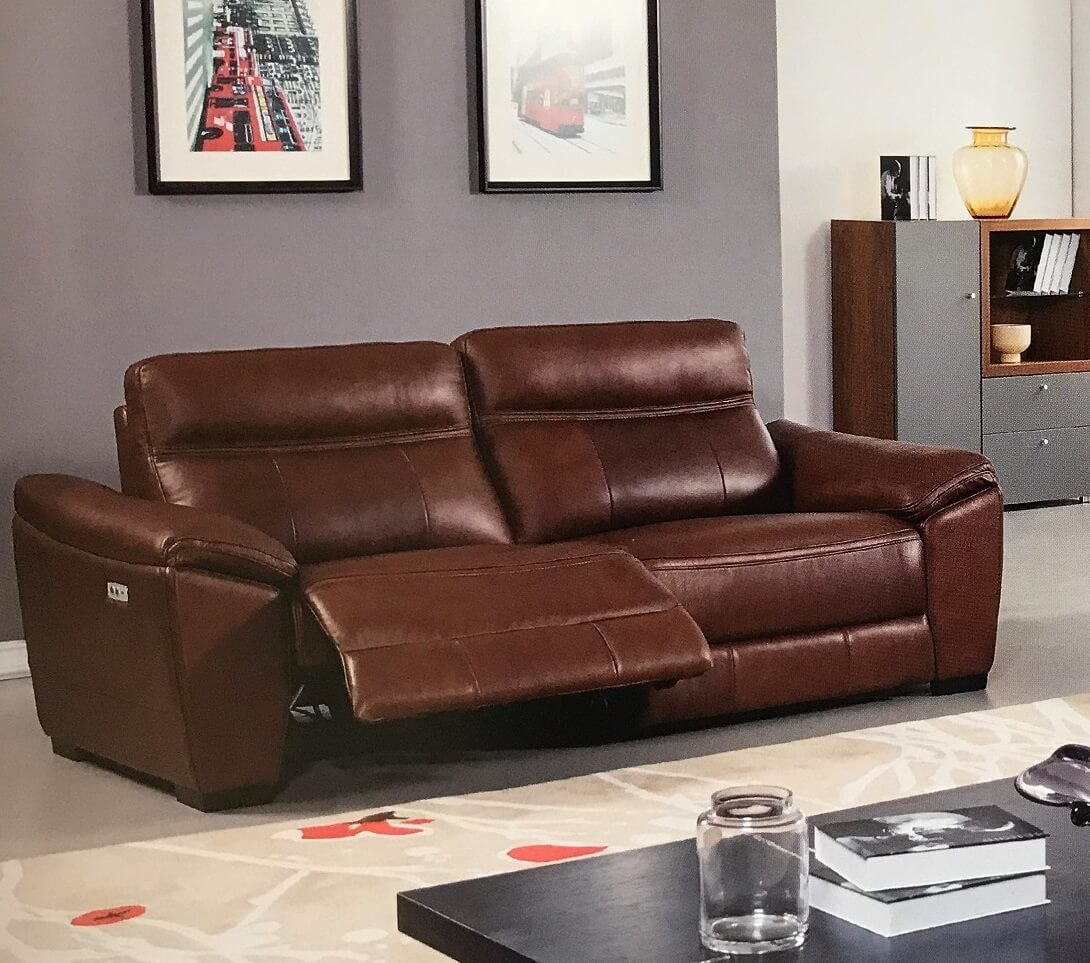 Forma Brown Leather Power Reclining Sofa