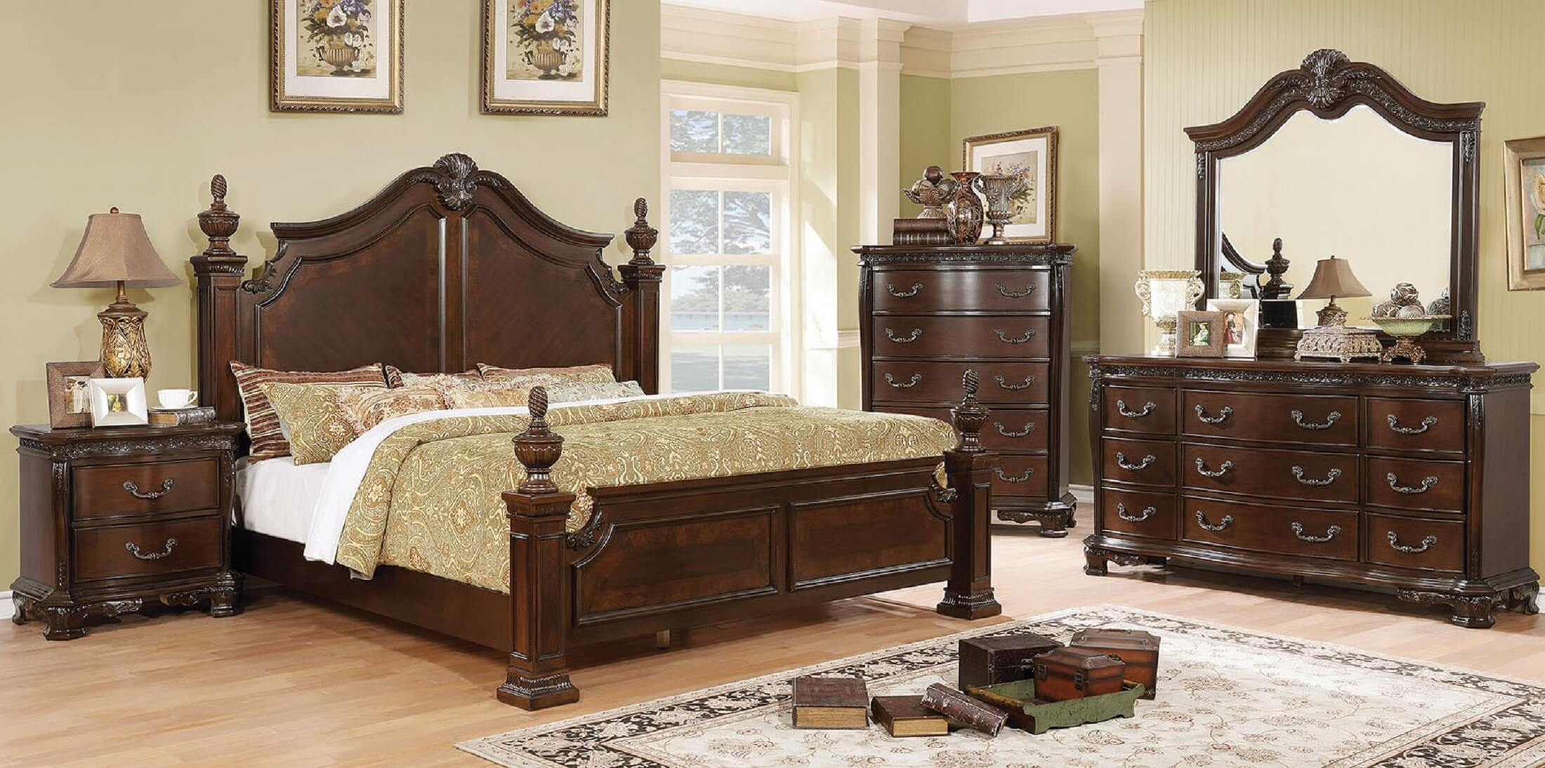Beau 4 Piece Hesperos Brown Finish Traditional Bedroom Set