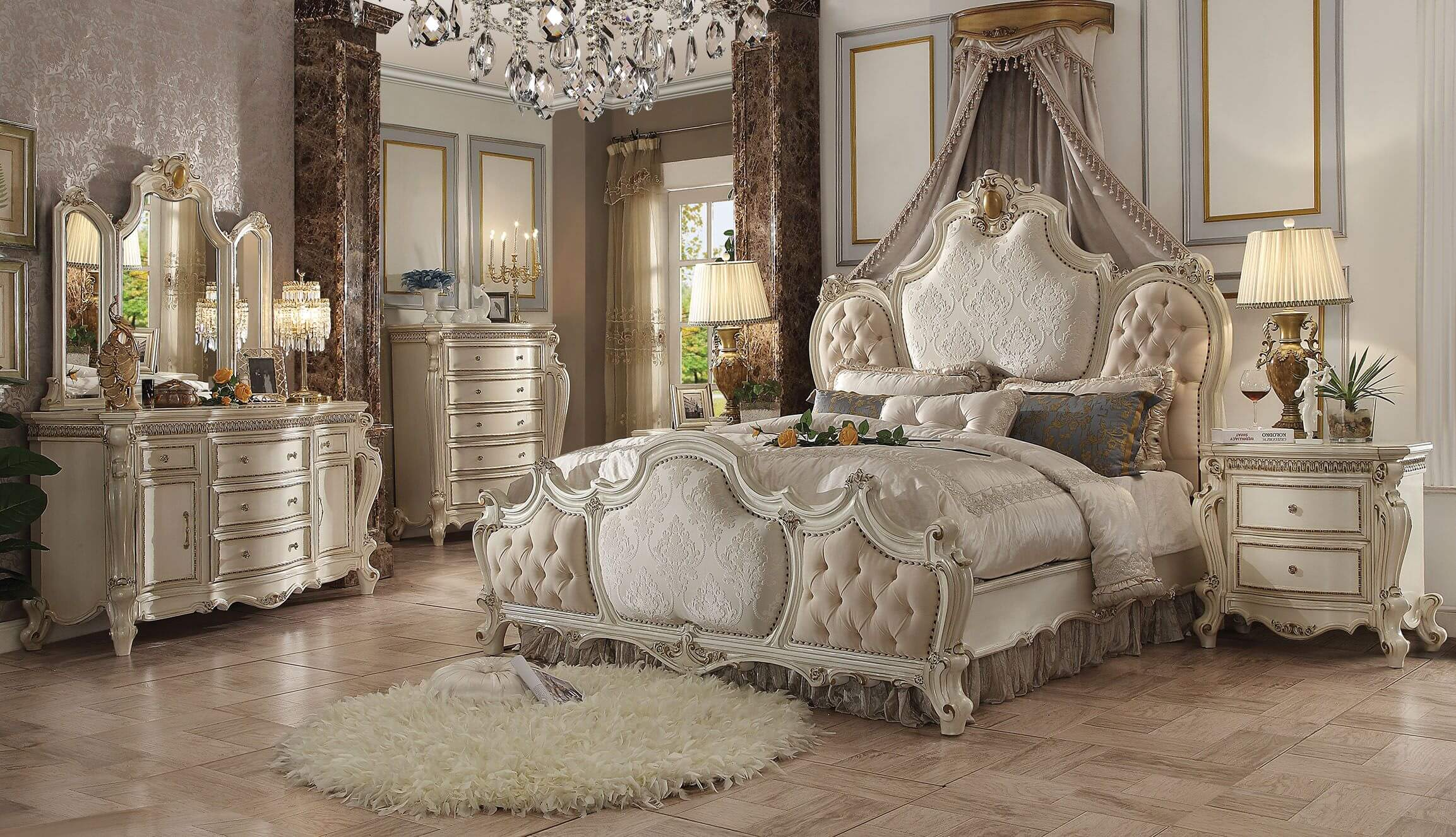 4 Piece Picardy Antique Pearl Bedroom Set ACME-26880Q