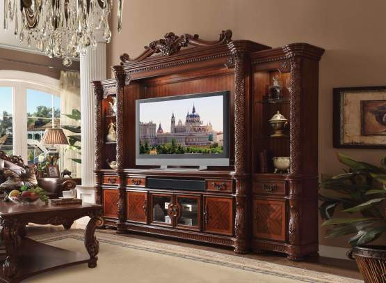 4 Piece Vendome Cherry Oak Wall Entertainment Center