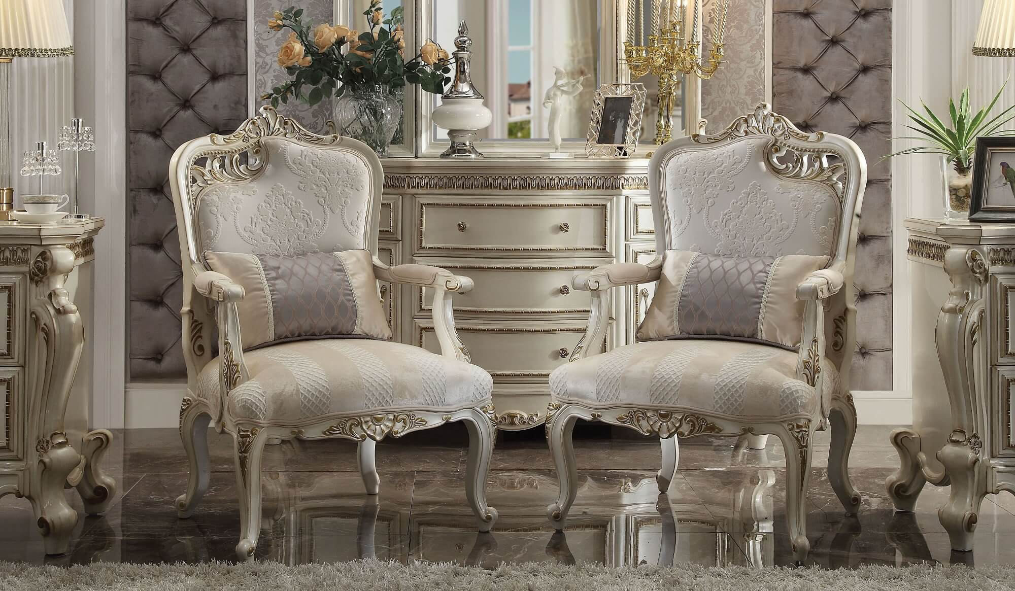 Picardy Accent Chair Antique Pearl Finish