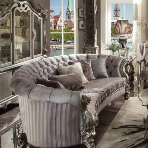 Versailles Antique Platinum Velvet Curved Sofa