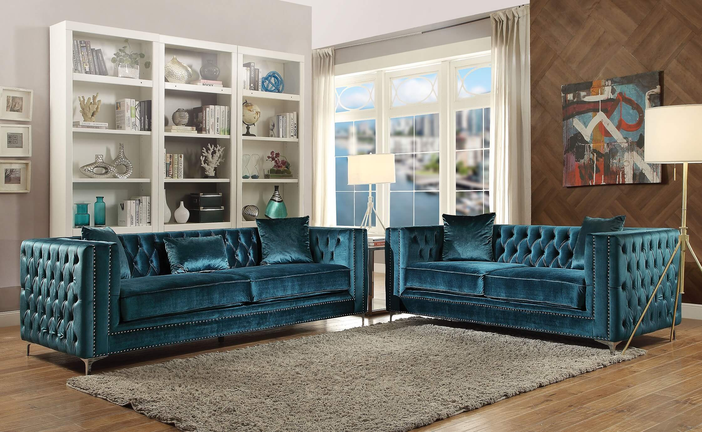 Superb Gillian Dark Teal Velvet 2 Piece Sofa Set Inzonedesignstudio Interior Chair Design Inzonedesignstudiocom
