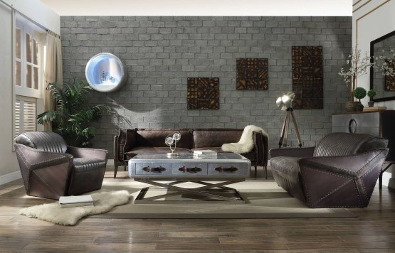 Acme Winchester Leather Sofa Set