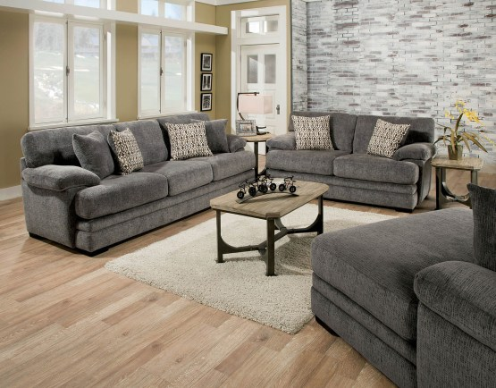 2 Piece Abrianna Gray Fabric Sofa Set