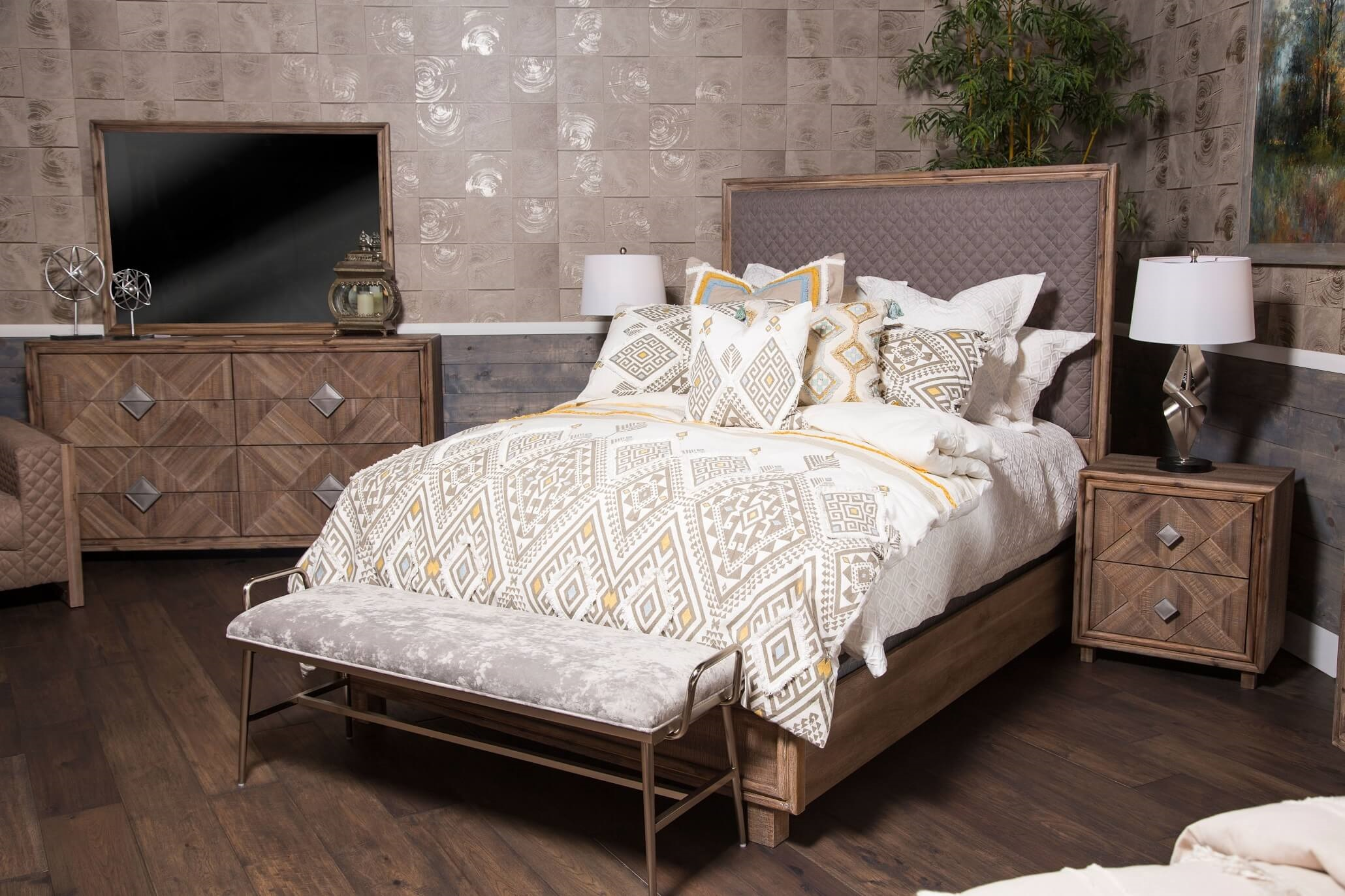 4 Piece Aico Hudson Ferry Diamond Quilted Bedroom Set