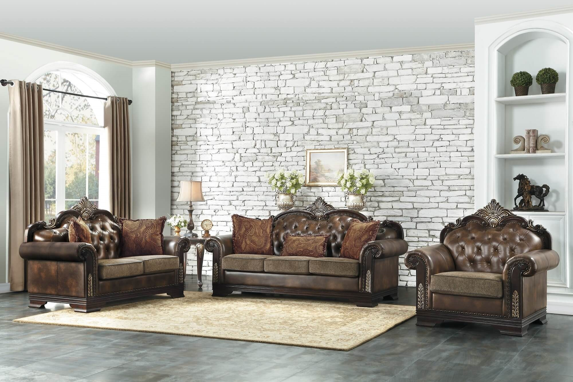 croydon traditional wood trim sofa set usa furniture online rh usafurnitureonline com seychelles wood trim sofa wood trim leather sofa