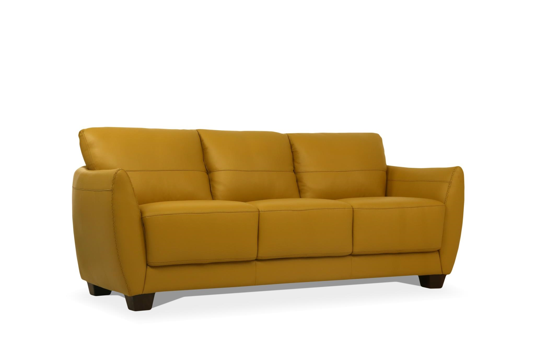 Valena Mustard Leather Sofa - Made In Italy