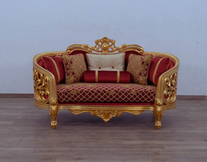 Bellagio II Gold Red Loveseat