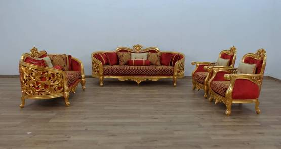 Bellagio II Gold Red Living Set