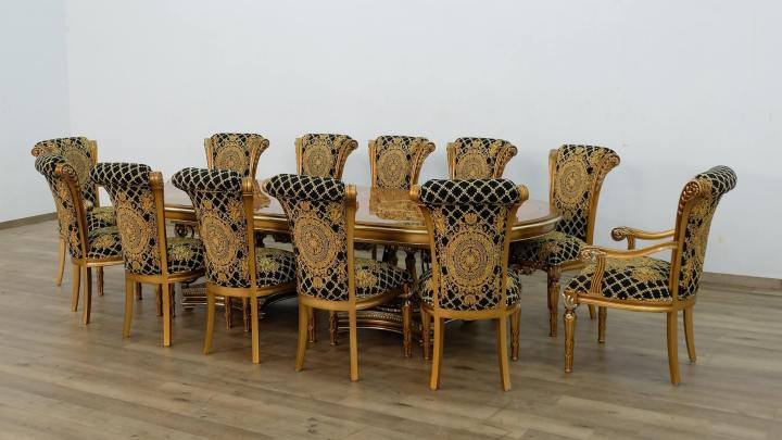 Valentina Dining Set With Black Gold Chair