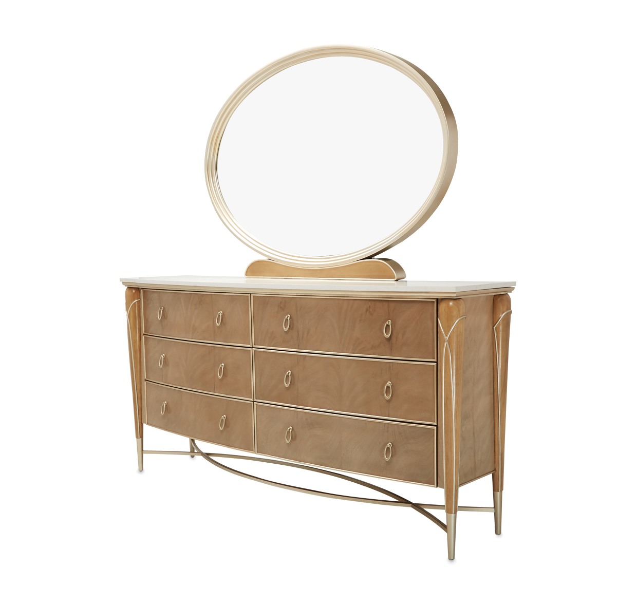 Villa Cherie Six Drawer Dresser With Marble Top Usa Furniture Online