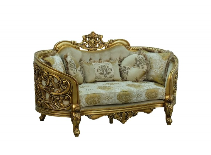 Bellagio Antique Bronze Loveseat Damask Fabric
