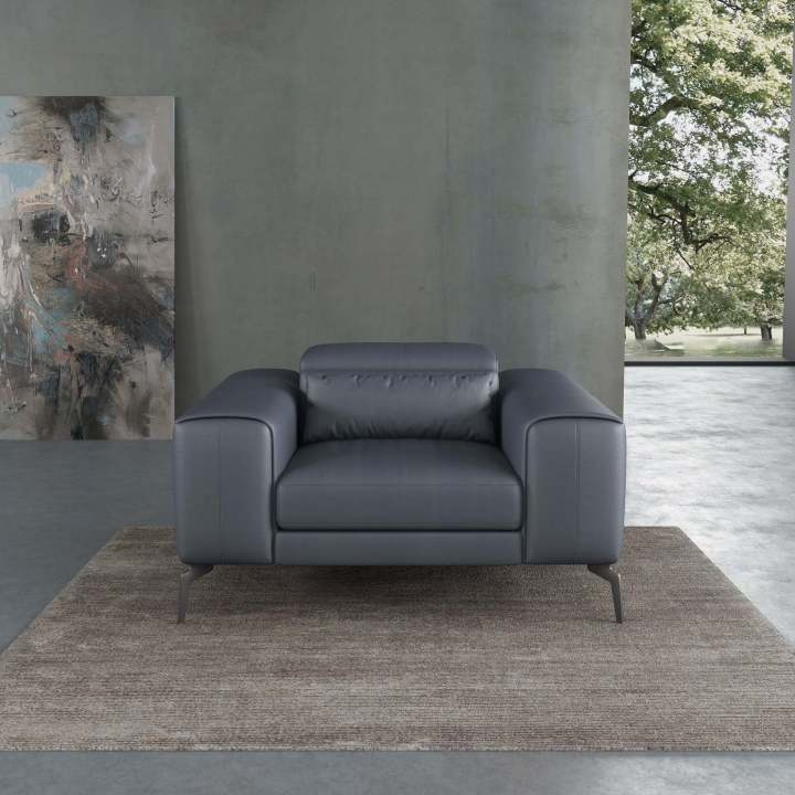 Cavour Contemporary Chair Gray Italian Leather