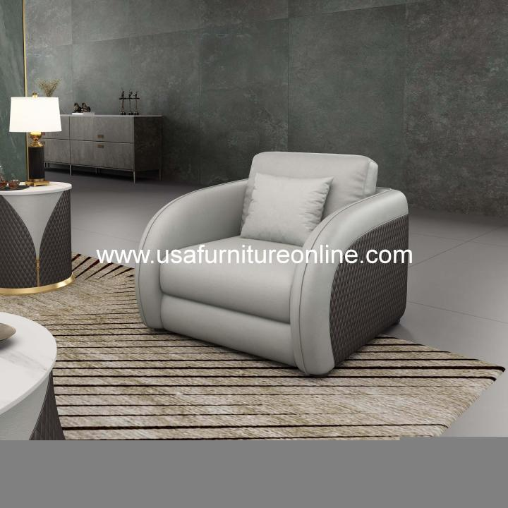 Noir Contemporary Chair Gray Leather