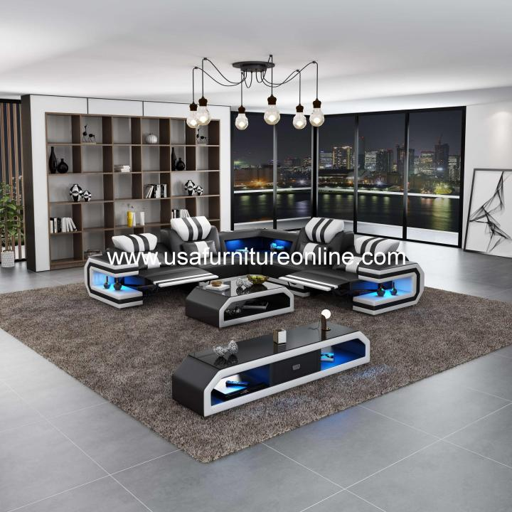 Lightsaber LED Sectional Dual Recliners Italian Leather Black & White
