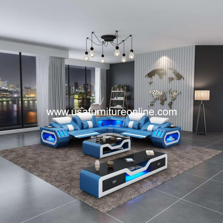 Spaceship LED Sectional With Dual Recliners Italian Leather Blue & White