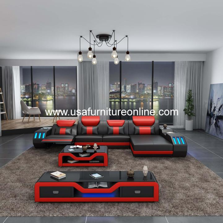 Starfighter LED Sectional With Recliner Italian Leather Black & Red