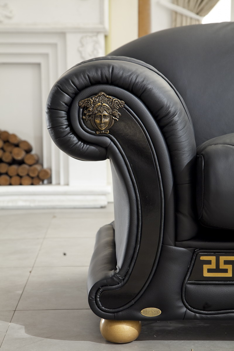 Versace Italian Leather Classic Sofa Set