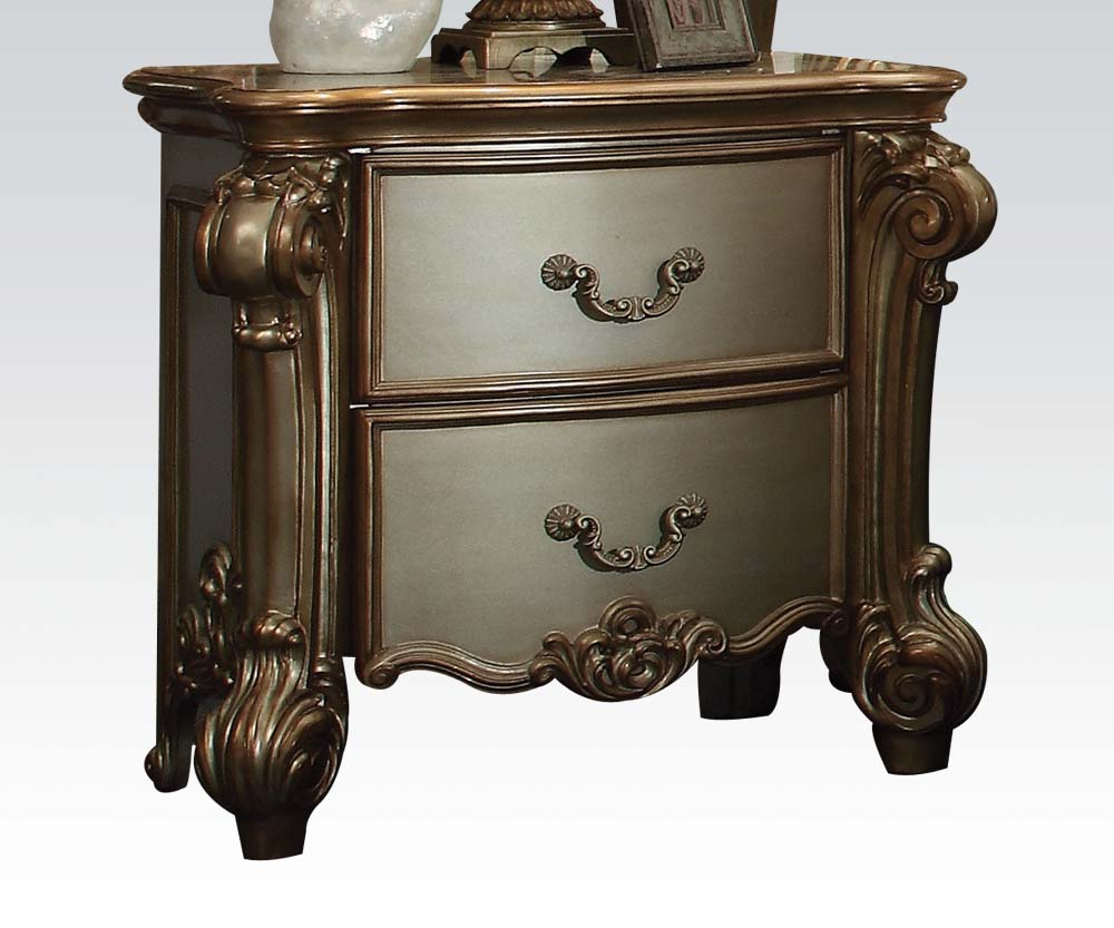 4 Pc Gold Patina Vendome Bedroom Set By Acme Furniture