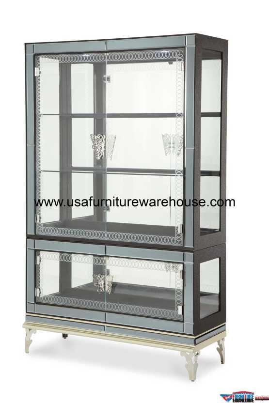 AICO Hollywood Swank Caviar Curio with Glass Doors