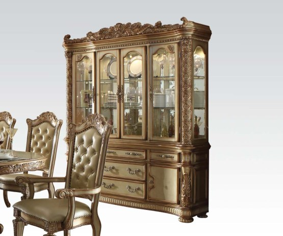 Vendome Gold Patina Hutch & Buffet