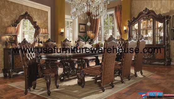 Acme Versailles Dining Set In Cherry Oak Finish