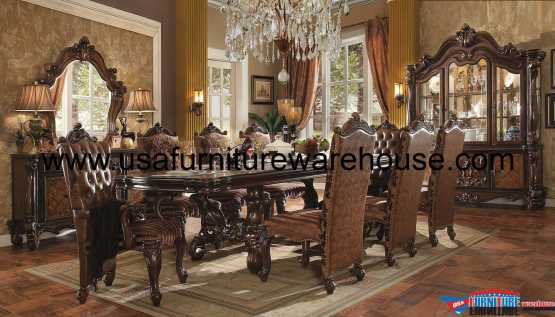 Acme Versailles Dining Set In Cherry Oak Finish