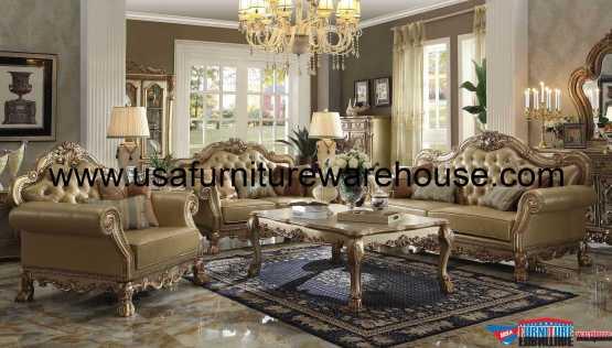 Dresden Gold Patina Sofa Set