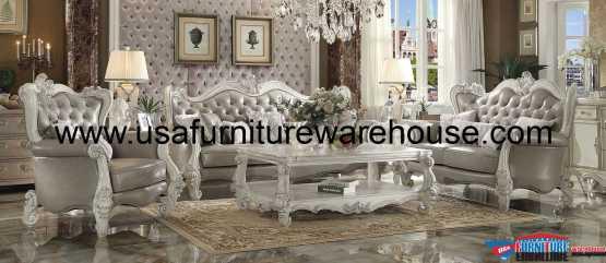 Versailles Sofa Set In Bone White Finish