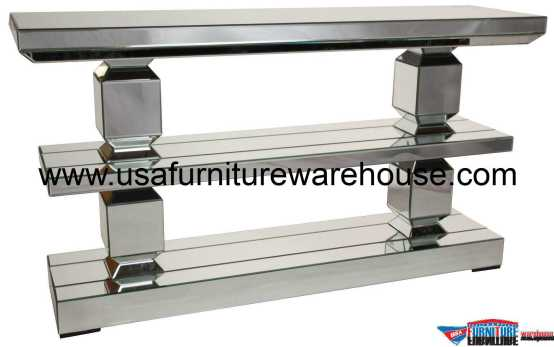 Mirrored 3 Tier Console Table