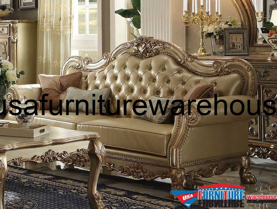 Dresden Wood Trim Gold Patina Leather Sofa