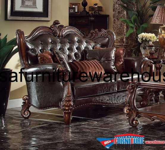 acme Versailles Loveseat Brown Finish