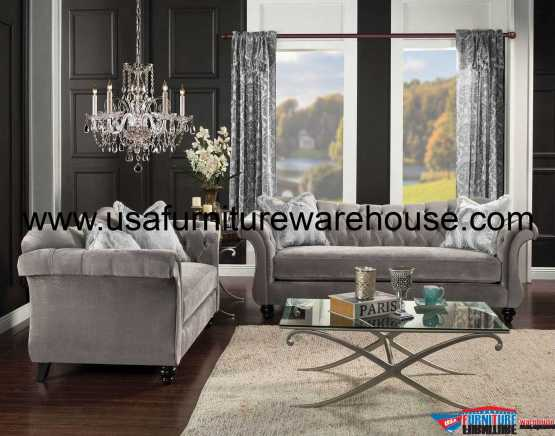 2 Piece Antoinette Dolphin Gray Sofa Set