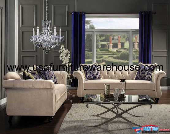 2 Piece Antoinette Light Mocha Sofa Set