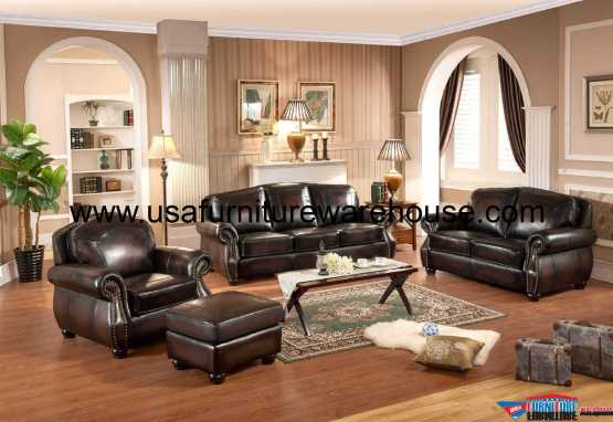 Hyde Full Leather Traditional Sofa Set