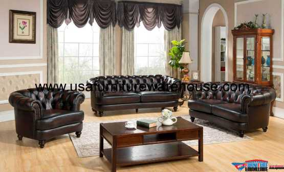 Mario Full Leather Sofa Set