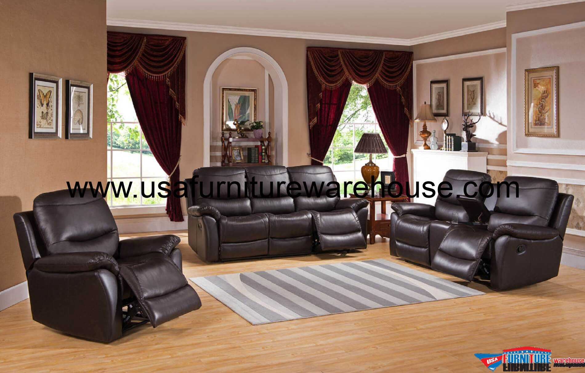 3 Piece Pisa Top Grain Leather Reclining Sofa Set Usa