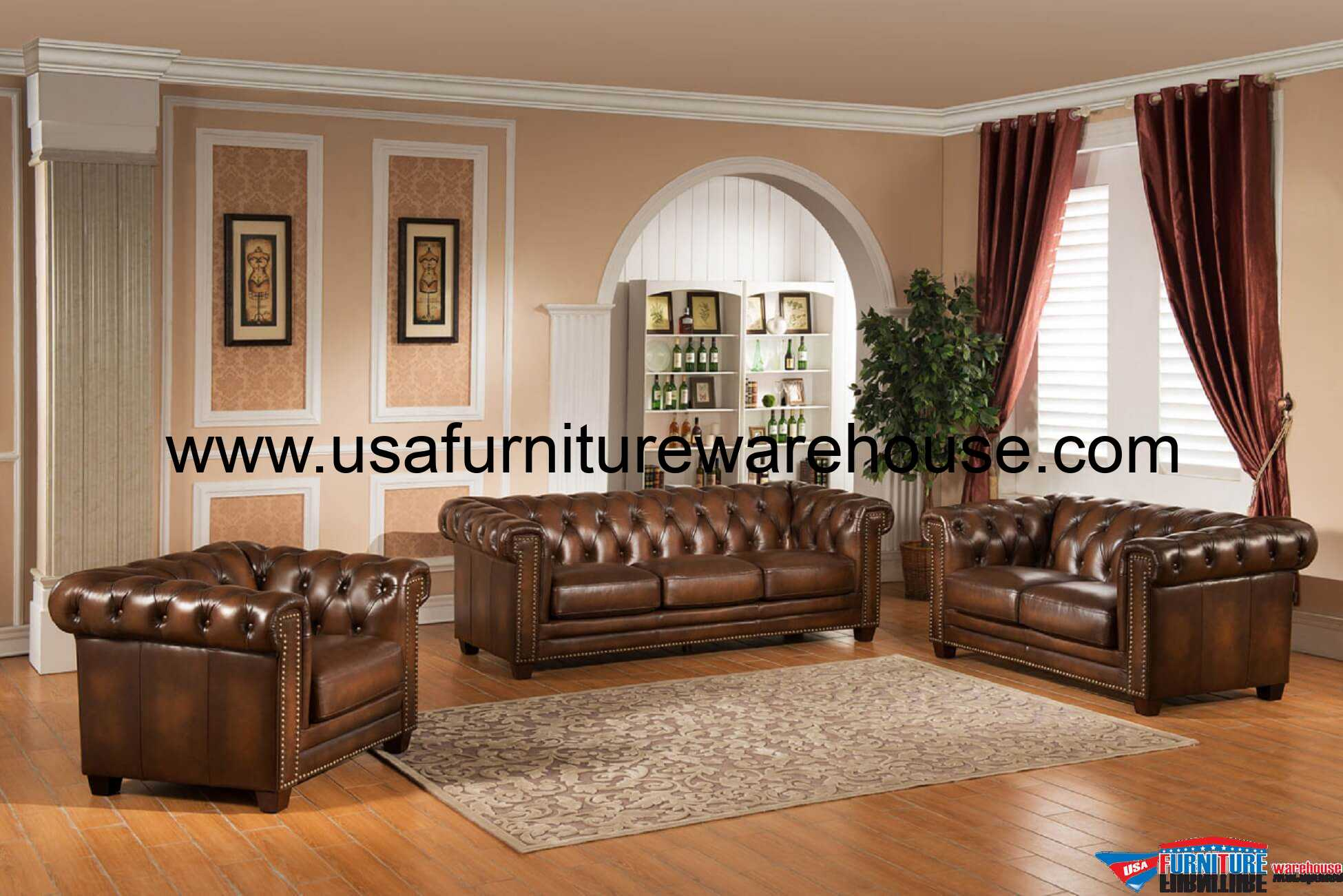 3 Piece Stanley Park Full Leather Sofa Set