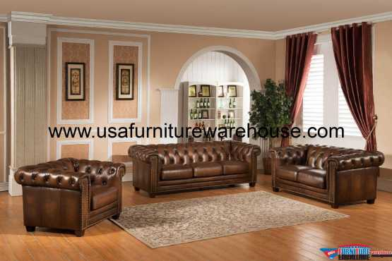 Stanley Park Full Leather Sofa Set