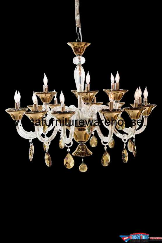 AICO 18 Light Rundale Chandelier Clear Glass
