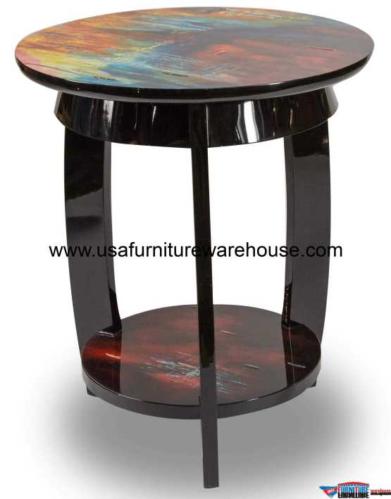 AICO Illusion Accent Round Side Table