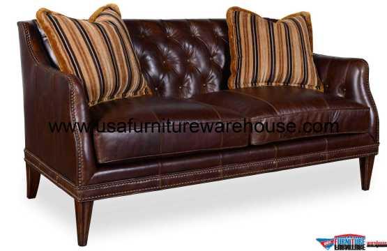Kennedy Walnut Leather Tufted Settee