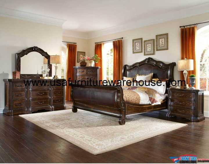 Valencia 4 Piece Leather Sleigh Bedroom Set