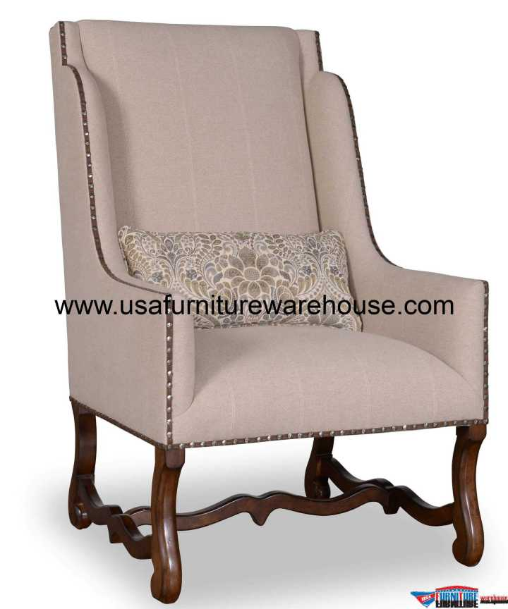 Tyler Natural Fabric Wing Chair